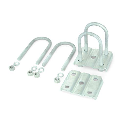 Sturdy Built Single Axle Galvanized U Bolt Kit for mounting Boat Trailer Leaf Springs for 2 3/8 Round Axle - 5 1/4