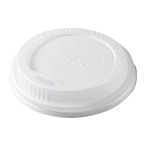 CiboWares Disposable Hot Cup Lids for 10 oz to 20 oz Cups, Made from Corn Based Plastic, Case of 1000 from CiboWares