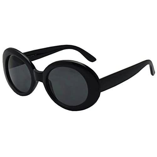 Colorful Oval Kurt Cobain Inspired Mod Round Pop Fashion Sunglasses (Black, Black)