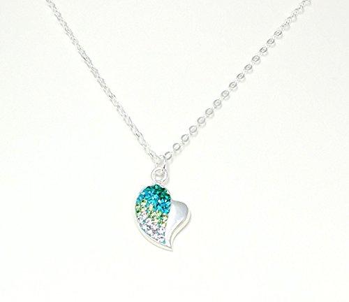 Heart Preciosa - Sterling Silver Heart with Preciosa Multicolored Glass Rhinestones Necklace