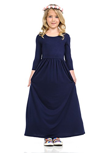 Pastel by Vivienne Honey Vanilla Girls' Fit and Flare Maxi Dress with Easy Removable Label X-Large 11-12 Years Navy by Pastel by Vivienne