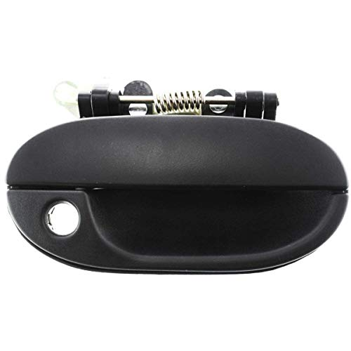 New Front Passenger Side Exterior Door Handle Assembly For 1995-1998 Hyundai Accent Plastic, Textured Black, With Keyhole HY1311114 ()