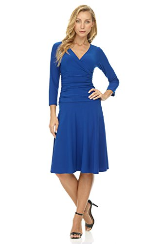 Rekucci Women's Slimming 3/4 Sleeve Fit-and-Flare Crossover Tummy Control Dress (2,Sapphire) 3/4 Sleeve Spandex Skirt