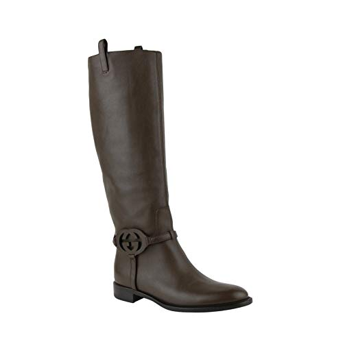 Gucci Brown Interlocking G Leather Knee Boots 338541 2140 (G 37 / US 7) - Gucci Brown Boots
