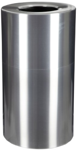 Witt Industries AL18-CLR Aluminum 24-Gallon Decorative Trash  Can with Rigid Plastic Liner, Round, 15'' Diameter x 30-1/2'' Height, Clear Coat by Witt Industries (Image #1)