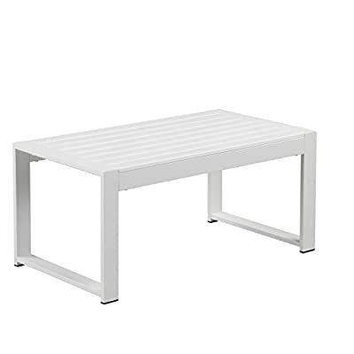 Pangea Home Chester Coffee Table, White - Comfortable and Chic Built to last Can be used outdoors or indoors - patio-tables, patio-furniture, patio - 316Fzi4g0PL. SS400  -