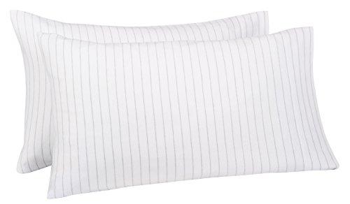 Pinzon 160 Gram Pinstripe Flannel Pillowcases - King, White