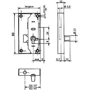 SERFA Serrure encloisonn/ée espagnolette Sens:Droite D/écor:Acier brut Axe:25 mm