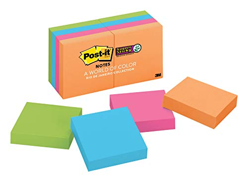 (Post-it Super Sticky Notes, 2x Sticking Power, 2 in x 2 in, Rio de Janeiro Collection, 8 Pads (622-8SSAU))