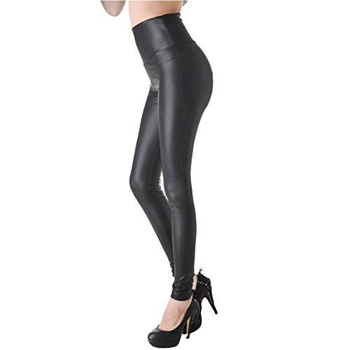 E.JAN1ST Women's Shiny Liquid Metallic High Waist Stretch Leggings Skinny Pant, Black, 12