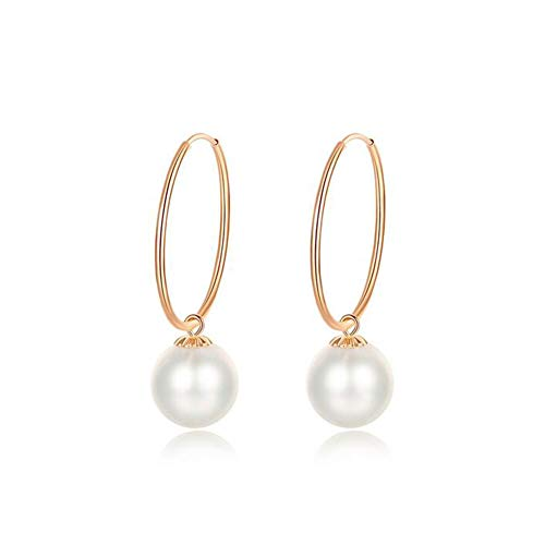 18k Yellow Gold/Rose Gold 7-7.5mm Quality Round Cultured Freshwater Pearl Earring for Women Wife Girls, Rosegold ()