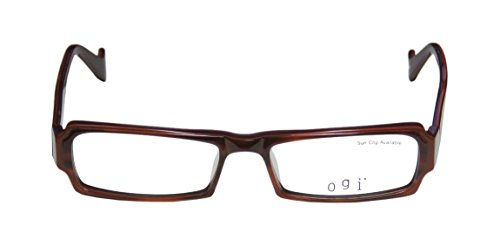 Ogi 9040 MensWomens Ophthalmic Premium Quality Rectangular Full-rim EyeglassesEyeglass Frame (51-16-135 Brown  Purple)