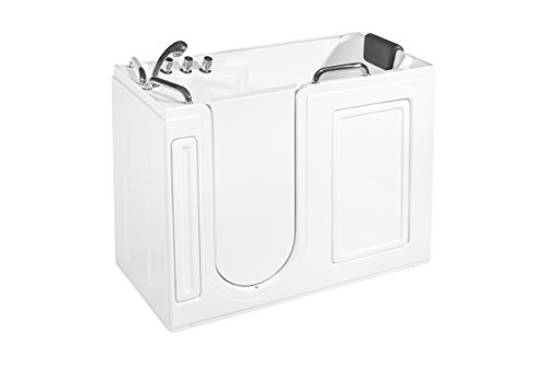 Empava 52.5 in. Acrylic Walk-in Tub Freestanding Soaking SPA Bathtub With Left Side Door EMPV-WITX373, WT0373, White