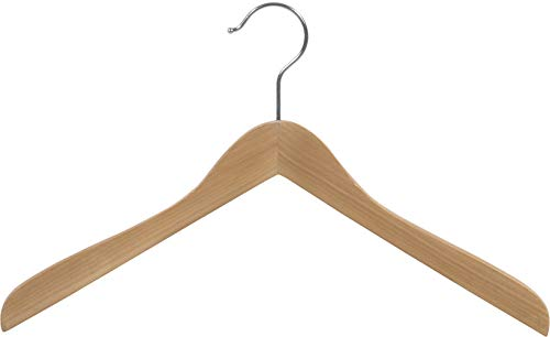 The Great American Hanger Company Wooden Concave Top/Coat Hanger, Natural Finish with Chrome Hardware, Box of 12