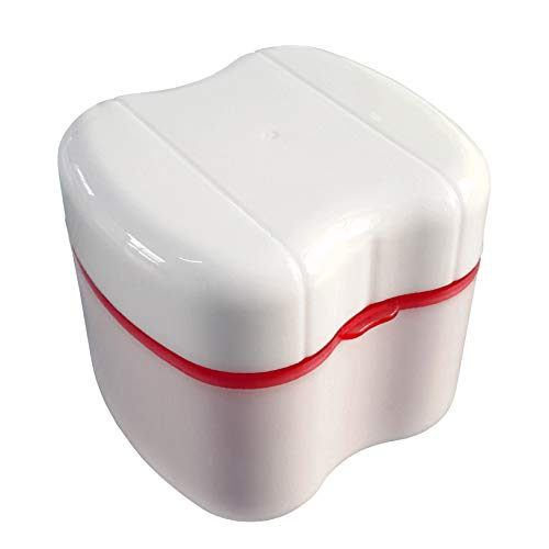 Exclusive Rose Red Denture Box with Specially Designed Holder for Rinse Basket, Great for Dental Care, Easy to Open, Store and Retrieve (Rose Red)