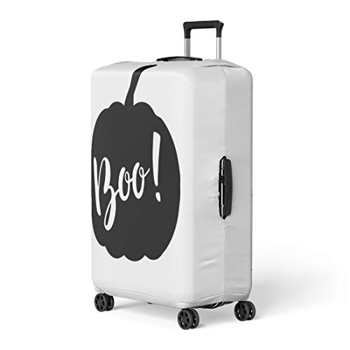 Pinbeam Luggage Cover Halloween Pumpkin Lettering Boo Black and White Travel Suitcase Cover Protector Baggage Case Fits 18-22 -