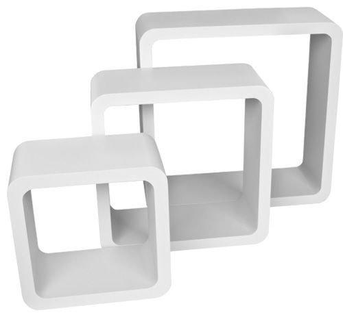 set of 3 wood white square floating cube wall storage shelf cubes amazoncouk kitchen u0026 home