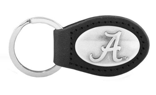 NCAA Alabama Crimson Tide Black Leather Concho Key Fob, One Size