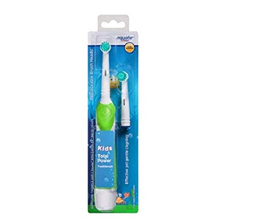 Equate Kids Total Power Battery Toothbrush, 1 Handle, 2 Extra-Soft Replacement Brush Heads