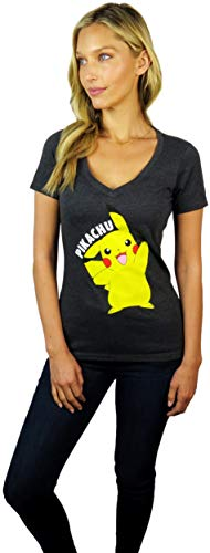 Pokemon Womens Pikachu V-Neck Tee (X-Large, Charcoal) (Pokemon T-shirt Tee)