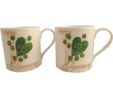 55th (Emerald) Wedding Anniversary Gift China Mugs (Pair)
