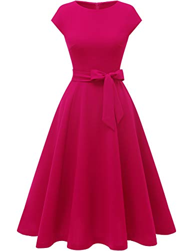 DRESSTELLS Women's Vintage Tea Dress Prom Swing Cocktail Party Dress with Cap-Sleeves Rose 2XL