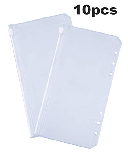 A6 Pre-Punched Ring Binder Pockets Notebook Refills Inserts Zipper Pouches for 6 Ring Binder 10 Packs