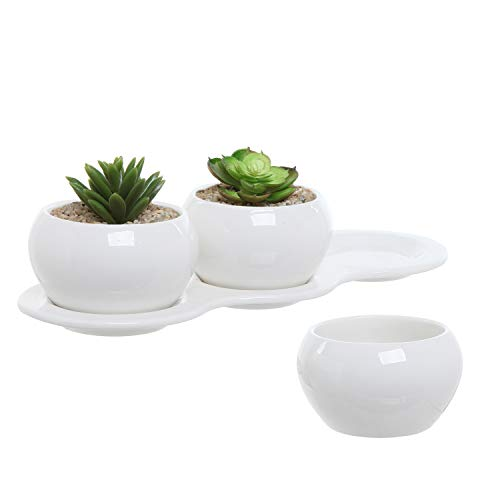MyGift 4 Piece Small White Ceramic Planter Set/Kitchen Herb Garden Plant Pots Collection with 3 Pots & 1 Tray (Window Sill Gardening)