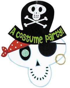 [Amscan Skeleton Pirate Halloween Invitations 8/pkg] (Childrens Costume Party Invitations)