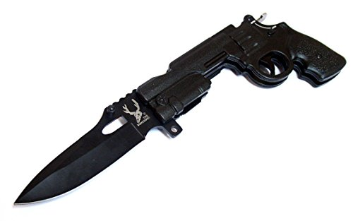 """Last Punch 9"""" Black Gun Spring Assisted Knife with Lock The Bone Edge Collection Series with Belt Clip"""