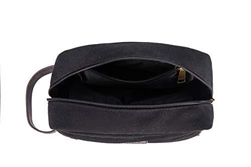 Toiletry Bag Travel Canvas Mens Leather Makeup Bag Organizer Cosmetic Bag Mens Shaving Bag Dopp Kits Large (black)