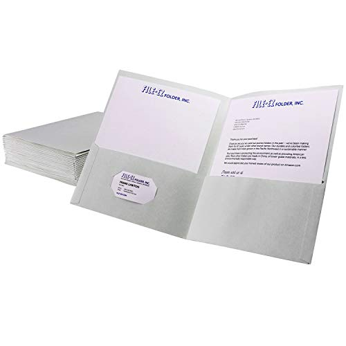 FILE-EZ Two-Pocket Folders, White, 25-Pack, Textured Paper, Letter Size ()