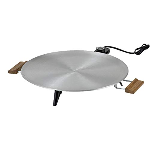 Bethany Heritage Griddle 1450 W 16 In. Dia. Satin Finish, Wood Handles