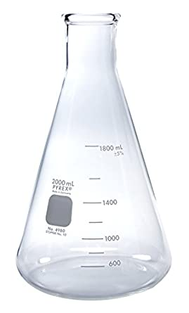 Pyrex 2l Narrow Mouth Erlenmeyer Flasks With Heavy Duty Rim 1pk