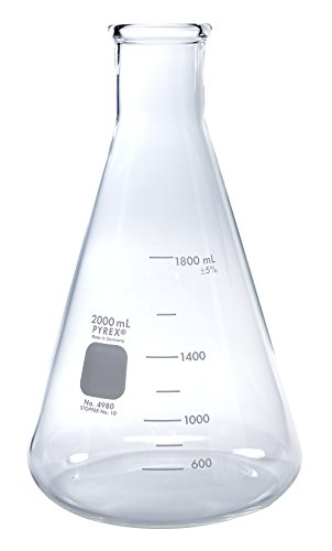 PYREX 2L Narrow Mouth Erlenmeyer Flasks with Heavy Duty Rim, (Corning Pyrex Erlenmeyer Flask)