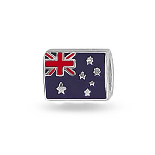 Australian Flag Pride International Charm Bead For Women For Teens 925 Sterling Silver Fits European Bracelet - 316GKSSEstL. SS500 - Getting Down Under Bracelets