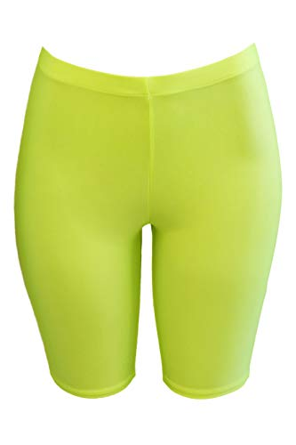 PnK Bike Shorts Women - Active Biker Yoga Shorts, Sexy Spandex Boyshort (NEON Yellow, Small) (Spandex Neon Shorts)