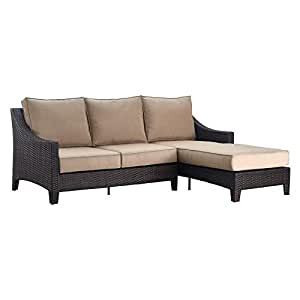 Serta Tahoe Outdoor Chaise Sectional Terra Brown Wicker