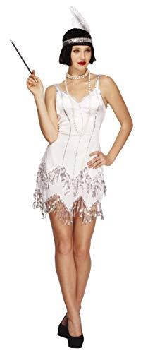 Smiffys Women's Fever Flapper Dazzle Costume, Dress with Sequins and Headband with Feather, Twenties, Fever, Size 10-12, 22790 -