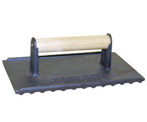 The Camp Chef 9-1/4-by-5-3/4-by-3-1/4-Inch Seasoned Cast Iron Bacon/Meat Press