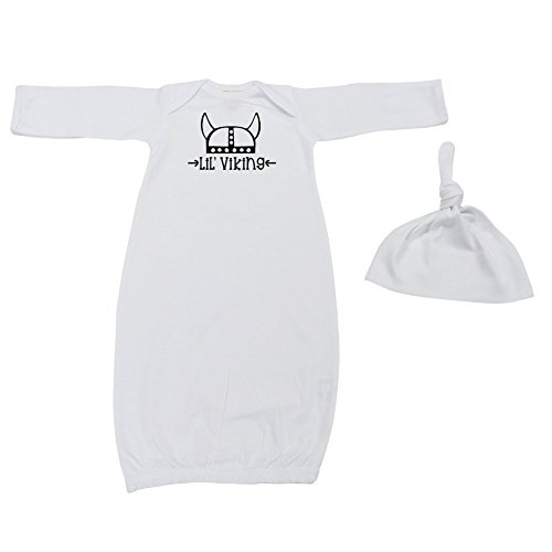 Mashed Clothing Unisex-Baby - LIL Viking (Helmet) - Fun & Trendy - Baby Layette Gown & Cap (White, Newborn) by Mashed Clothing (Image #1)