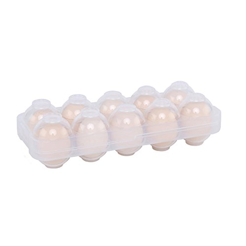 Duck Plastic Box - Stackable Refrigerator Egg Storage Container, Cartons, Holder for 10 Eggs (Transparent)