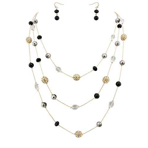 Bocar New Beautiful Fashion 3 Layer Handmade Jewelry Set Long Illusion Necklace (Plated Gold-Black)
