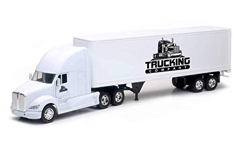 Shop72 Personalized Diecast NewRay 1:32 Scale Kenworth T700 Truck W/Dry Van Trailer with Logo or Name for Promotional Use - White