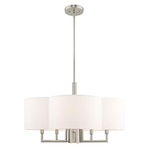 Livex Lighting 51925-91 Chelsea - Six Light Chandelier, Brushed Nickel Finish with Off-White Fabric Shade ()