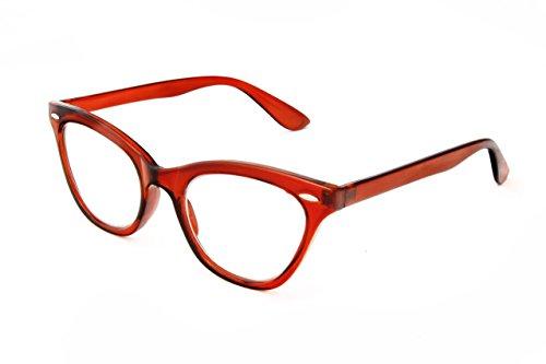 Clear Optix Crystal (Hot Optix Womens Cat Eye Wayfarer Reading Glasses, Brown Crystal Frame/ Clear Lens/ +3.00)