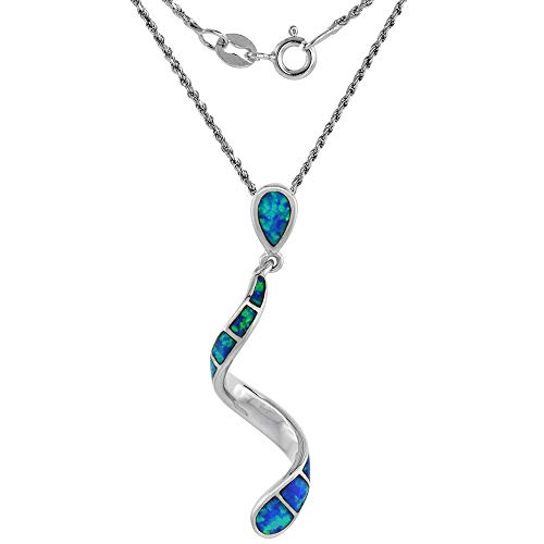 (Sterling Silver Synthetic Opal Swirl Necklace for Women Hand Inlay 16 inch ROPH_25)