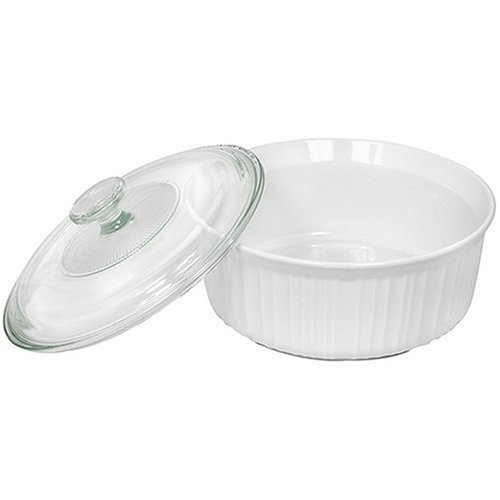 CorningWare French White 2-1/2-Quart Round Casserole Dish with Glass Cover