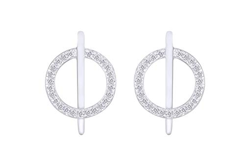 Aria Jewels Diamond Circle Bar Line Stud Earrings in 14K White Gold Over Sterling Silver (1/10 ()