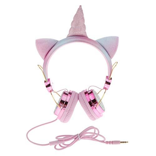 Baoblaze Unicorn Cartoon Glitter Kids On Ear Koptelefoon met Microfoon voor Meisjes – Roze 1, 1,2 m